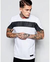 Мужская бело-черная футболка с круглым вырезом в горизонтальную полоску от Religion