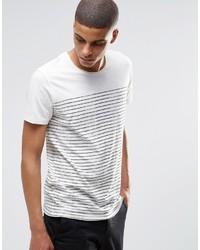 Мужская бело-черная футболка с круглым вырезом в горизонтальную полоску от Selected
