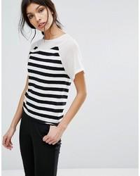 Женская бело-черная футболка с круглым вырезом в горизонтальную полоску от Sisley