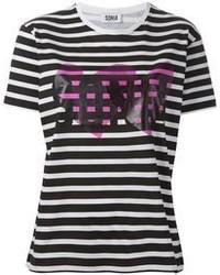 Женская бело-черная футболка с круглым вырезом в горизонтальную полоску от Sonia Rykiel