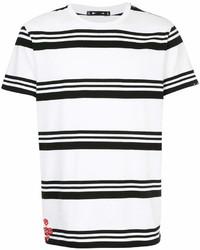 Мужская бело-черная футболка с круглым вырезом в горизонтальную полоску от The Upside