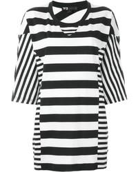 Женская бело-черная футболка с круглым вырезом в горизонтальную полоску от Y-3