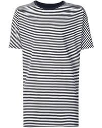 Мужская бело-черная футболка с круглым вырезом в горизонтальную полоску от Zanerobe