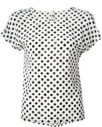 Бело-черная футболка с круглым вырезом в горошек