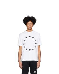 Мужская бело-черная футболка с круглым вырезом с принтом от Études