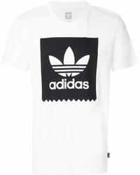 Мужская бело-черная футболка с круглым вырезом с принтом от adidas