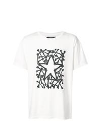Мужская бело-черная футболка с круглым вырезом с принтом от Amiri