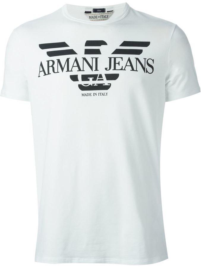 16e8c35bb2b3 Мужская бело-черная футболка с круглым вырезом с принтом от Armani Jeans