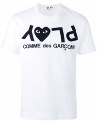 Мужская бело-черная футболка с круглым вырезом с принтом от Comme des Garcons