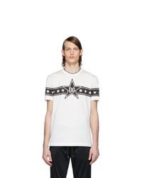Мужская бело-черная футболка с круглым вырезом с принтом от Dolce and Gabbana