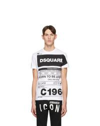Мужская бело-черная футболка с круглым вырезом с принтом от DSQUARED2
