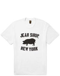 Мужская бело-черная футболка с круглым вырезом с принтом от Jean Shop