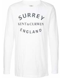 Мужская бело-черная футболка с круглым вырезом с принтом от Kent & Curwen