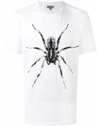 Мужская бело-черная футболка с круглым вырезом с принтом от Lanvin