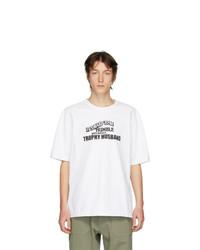 Мужская бело-черная футболка с круглым вырезом с принтом от Linder