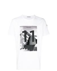 Мужская бело-черная футболка с круглым вырезом с принтом от Moncler