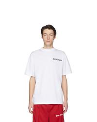 Мужская бело-черная футболка с круглым вырезом с принтом от Palm Angels