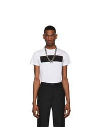 Мужская бело-черная футболка с круглым вырезом с принтом от Random Identities