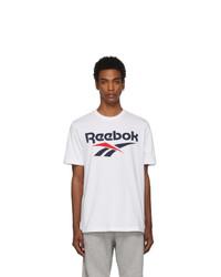 Мужская бело-черная футболка с круглым вырезом с принтом от Reebok Classics