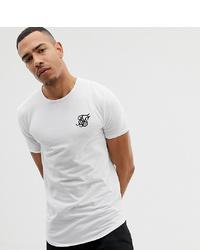 Мужская бело-черная футболка с круглым вырезом с принтом от Siksilk