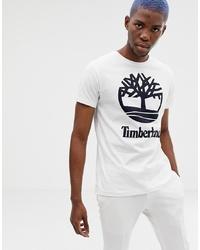 Мужская бело-черная футболка с круглым вырезом с принтом от Timberland