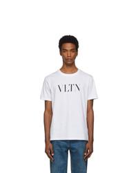 Мужская бело-черная футболка с круглым вырезом с принтом от Valentino