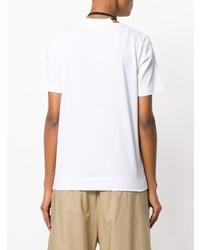 Бело-черная футболка с круглым вырезом с цветочным принтом