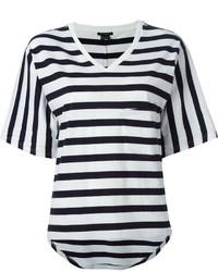 Бело-черная футболка с v-образным вырезом в горизонтальную полоску