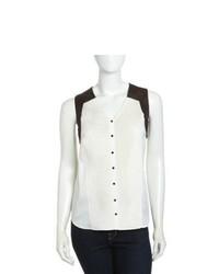 Бело-черная шифоновая рубашка без рукавов