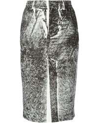 Бело-черная юбка-карандаш с принтом