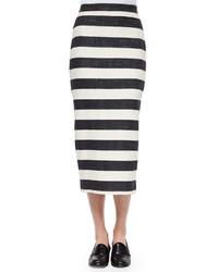 Бело-черная юбка-миди в горизонтальную полоску