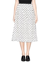 Бело-черная юбка-миди в горошек