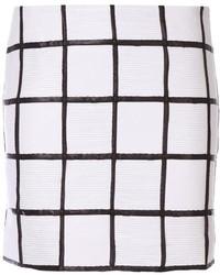 Бело-черная юбка с баской в клетку