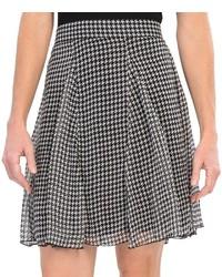"""Бело-черная юбка-трапеция с узором """"гусиные лапки"""""""