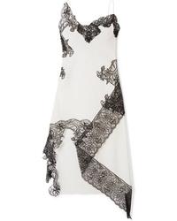 Бело-черное кружевное платье-комбинация