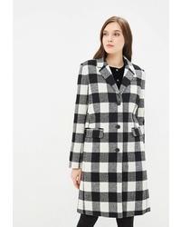 Женское бело-черное пальто в клетку от Calvin Klein Jeans