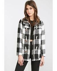 Женское бело-черное пальто в клетку от Forever 21