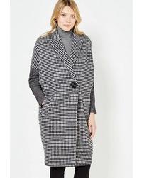 Женское бело-черное пальто в мелкую клетку от Immagi