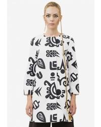 Женское бело-черное пальто с принтом от Pavel Yerokin
