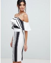 f1f74e00eb97ca3 Купить бело-черное платье-футляр в вертикальную полоску - модные ...