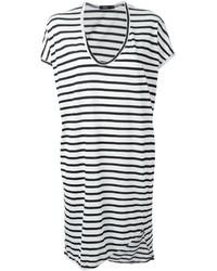 Бело-черное повседневное платье в горизонтальную полоску