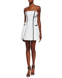 Бело-черное стеганое платье-футляр