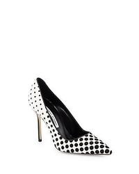 Бело-черные замшевые туфли в горошек