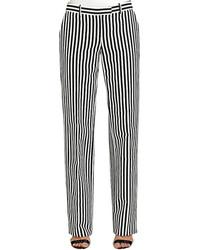 Бело-черные классические брюки в вертикальную полоску