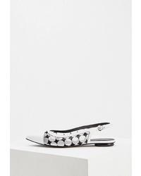 Бело-черные кожаные балетки от Fabi