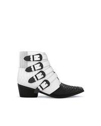 Бело-черные кожаные ковбойские сапоги