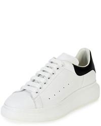 Бело-черные кожаные низкие кеды