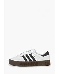 Женские бело-черные кожаные низкие кеды от adidas Originals