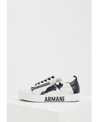 Женские бело-черные кожаные низкие кеды от Armani Exchange