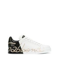 Женские бело-черные кожаные низкие кеды от Dolce & Gabbana